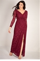 Sistaglam Loves Jessica Wright Neille berry/burgundy sequin lace wrap long sleeve dress with slit