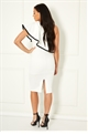 Sistaglam Loves Jessica Wright Charlot white one shoulder monochrome dress with exageratted frilled detail