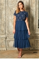 Jessica Rose Special Edition Hopie Navy Cap Sleeve Midi Teared Dress