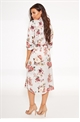 Sistaglam Loves Jessica Wright Lissie satin floral silver multi print shirt dress with belt tie