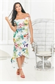 Jessica Wright Danya Floral Multi Print Bardot Dress With Frilled Hem