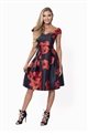 Sistaglam Rose Red and Black Floral Prom Dress