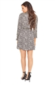 Sista Glam Loves Jessica Wright Mitzy brown animal print sleeve skater dress with neck tie
