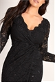 Sistaglam Loves Jessica Wright Steffie black sequin lace midi wrap dress with long sleeves