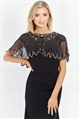 Sistaglam Lumie Black Embellished Cape