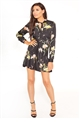 Jessica Wright Claryce black multi floral print frill long sleeve shift dress with bow tie