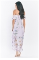 Jessica Wright Missy Multi Chiffon Maxi Dress With Floral Frill Details And Asymmetric Hem
