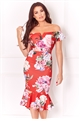 Sistaglam Loves Jessica Wright Juliane multi floral bardot bodycon frill hem dress