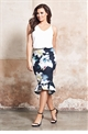 Jessica Wright Isolde floral print frilled hem skirt