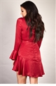 Sistaglam Loves Jessica Wright Porla wine red long sleeve wrap frill dress with tie