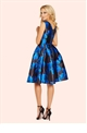 Sistaglam Natalya Blue Floral Sateen Round Neck Midi Prom Dress