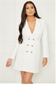 Sistaglam Loves Jessica Wright Portia white tailored gold button tuxedo dress