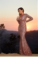 Jessica Wright Valentina Rose Gold Sequin Embellished Maxi Dress
