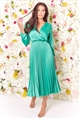 Jessica Wright Cynthia Green long sleeve wrap neckline pleated midi dress