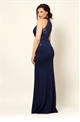 Jessica Wright Loudes Navy VIP Scallop Sequin Lace Halter Neck 2 In 1 Maxi Dress