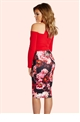 Jessica Wright Andrea Pink Floral Wrap Front Pencil Skirt