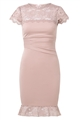 Jessica Wright Loves Sistaglam Monike lace nude panel Bandeau dress with rouched waist