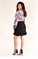 Jessica Wright Delane multi floral blouse with lace up straps and frilled sleeves.
