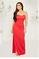 Jessica Wright Selma red lace bandeau bodice over ruched side frill maxi