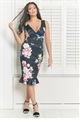 Jessica Wright Rosalina Multi Floral Print V Neck Wrap Ruched Side Hem Frill Midi Dress