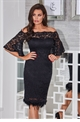 Jessica Wright Ivana black off the shoulder all over lace bodycon dress with loose fitting sleeves.
