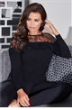Jessica Wright Christia black lace neckline knitted jumper with frilled long sleeves.