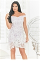 Sistaglam Loves Jessica Wright Francie white cornflower sequin lace bardot dress with assymetric frill hem