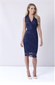 Sistaglam Hollie navy blue lace v neck bodycon dress