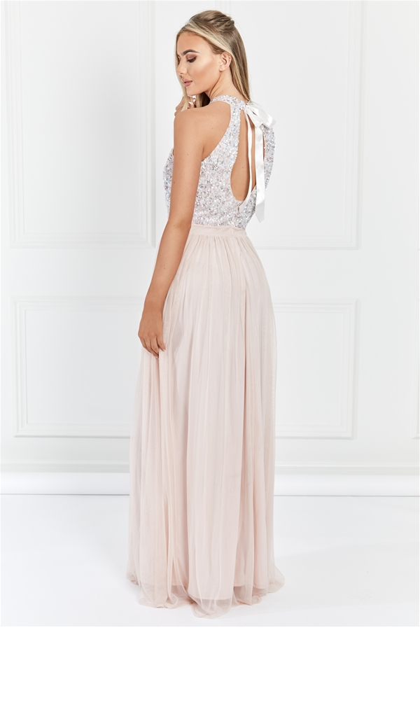 a044e3ef4aa Sistaglam Selena Blush pink Chiffon And Sequin Maxi Dress