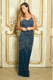 Sistaglam Special Edition Jessica Rose Flory navy beaded maxi dress