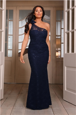 Sistaglam loves Jessica Wright Alivia one shoulder lace navy maxi dress
