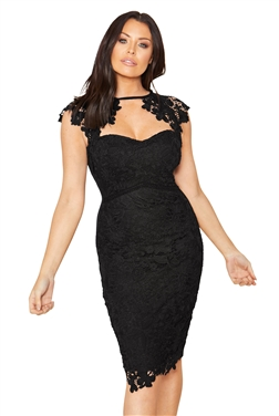 Sistaglam Loves Jessica Wright Mazzie Black lace sweetheart bodycon dress