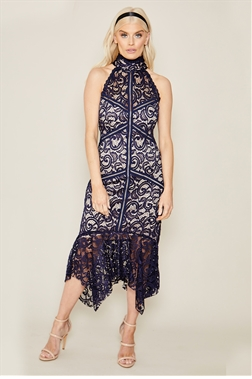 Sistaglam Notie navy all over lace dress with frilled hem
