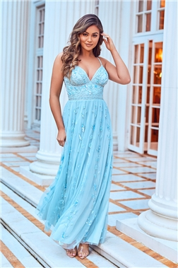 SISTAGLAM VIOLA BLUE SEQUIN MAXI DRESS