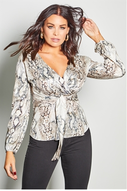 Sistaglam Loves Jessica Wright Talia multi snake print wrap waist tie top