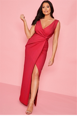 Sistaglam loves Jessica Wright Chrome red v neck front knot maxi dress