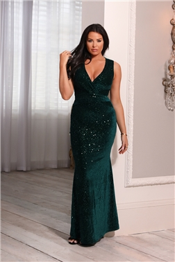 Sistaglam Loves Jessica Wright Cameo Green Velvet Maxi Dress