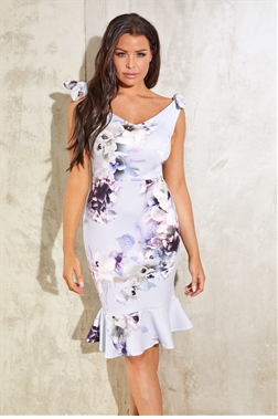 Sistaglam Loves Jessica Wright Alda cornflower floral print bodycon frilled hem midi dress