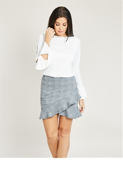 Jessica Wright Luna White Boat Neckline Long Sleeve Frill Side Buttoned Blouse