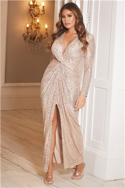 SISTAGLAM LOVES JESSICA WRIGHT DULCIE PETITE GOLD ALL OVER SEQUIN MAXI DRESS