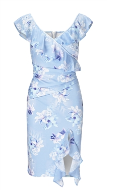 Sistaglam Loves Jessica Wright Patrycia Blue Mulit Floral Print Frill Mini Dress