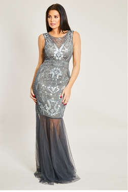 Jessica Wright Lydia Silver Sheer Sequin Maxi Dress