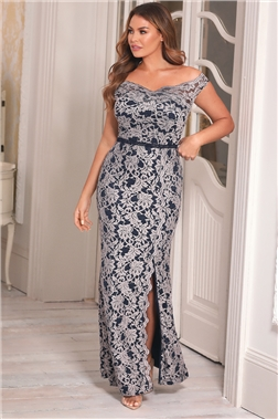 Sistaglam Loves Jessica Wright Giselle All Over Lace Navy Maxi Dress