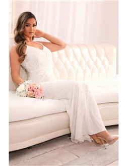 Sistaglam Flory Petite Off-White Beaded Maxi Dress