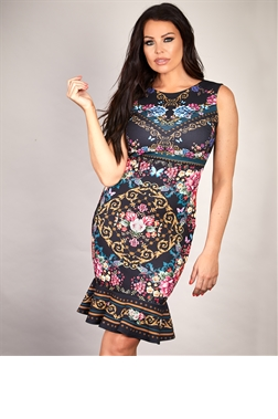 Sistaglam Loves Jessica Wright Thea multi floral chain print stretch bodycon midi dress