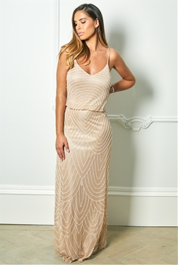 Sistaglam Special Edition Jessica Rose Clementine neutral/sand mesh overlay maxi dress