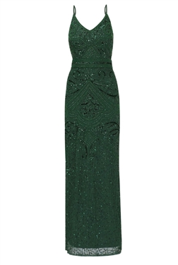 SISTAGLAM FLORY GREEN BEADED MAXI DRESS