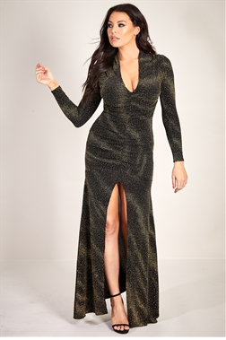 Sistaglam Loves Jessica Wright Aurora gold plunge neck ruched glitter lurex maxi dress with sleeves