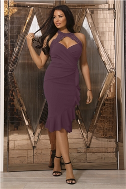 SISTAGLAM LOVES JESSICA WRIGHT LEESHA BERRY FRILL PLUNGE MIDI DRESS