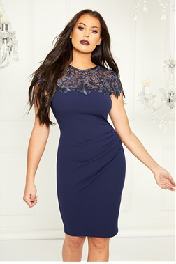 Sistaglam Loves Jessica Wright Caressa navy lace panel dress with cap sleeve